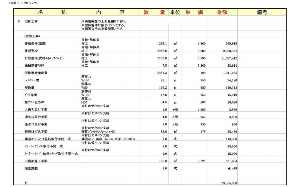 建設費の見積書